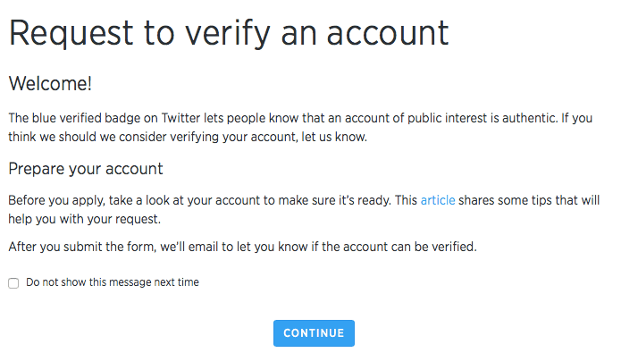 Twitter account verifiêren beginscherm