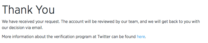 Twitter account verifiëren - eindscherm