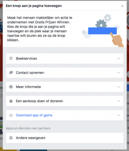 De facebook call-to-action knop