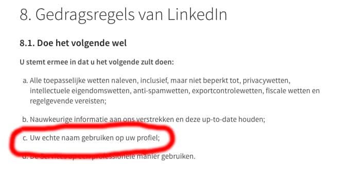 Reglement naamveld LinkedIn