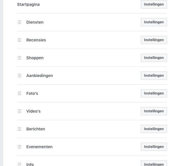 De verschillende Facebook tabbladen beschikbaar op een bedrijfspagina