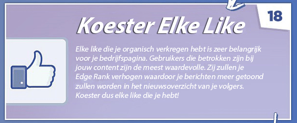 Tip 18 - Facebook bedrijfspagina optimaliseren - Koester elke like