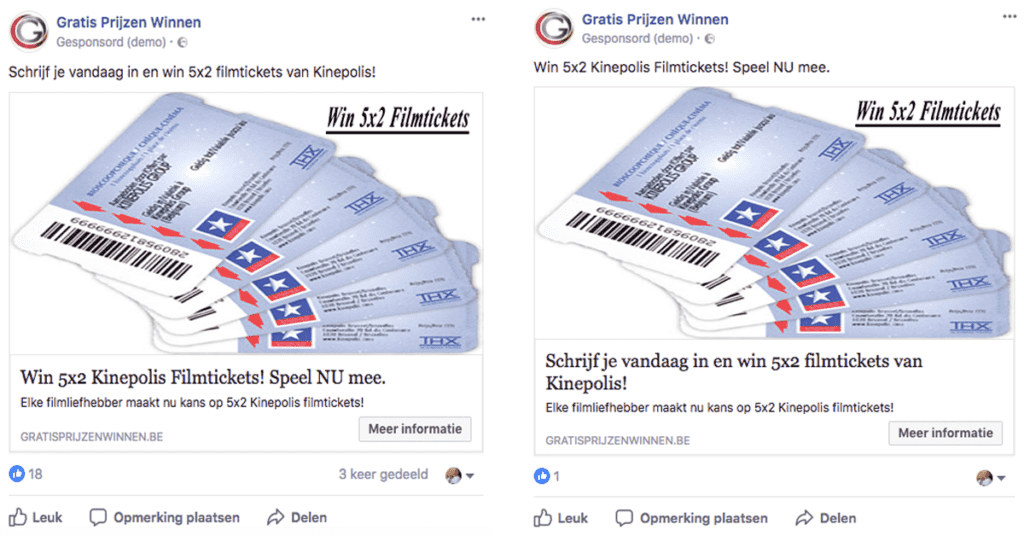 test verschillende facebook advertenties