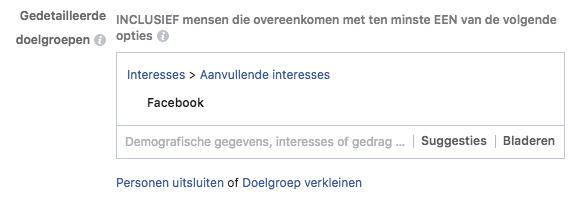 Facebook adverteren - aanvullende interesses