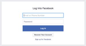 Facebook aanmelding scherm