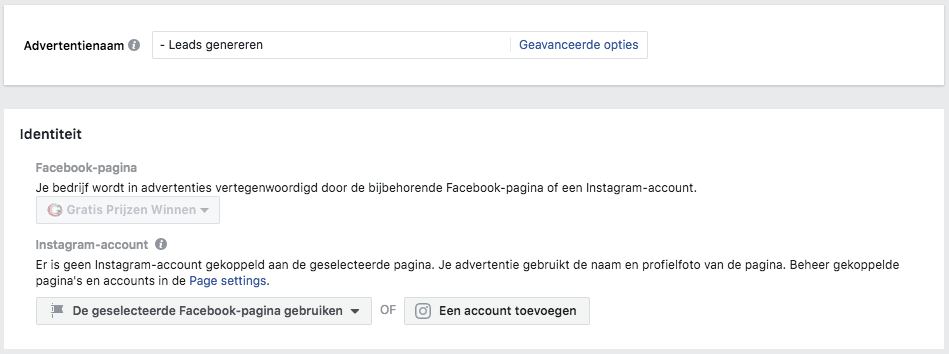 Kies advertentienaam en bijbehorende Facebook pagina
