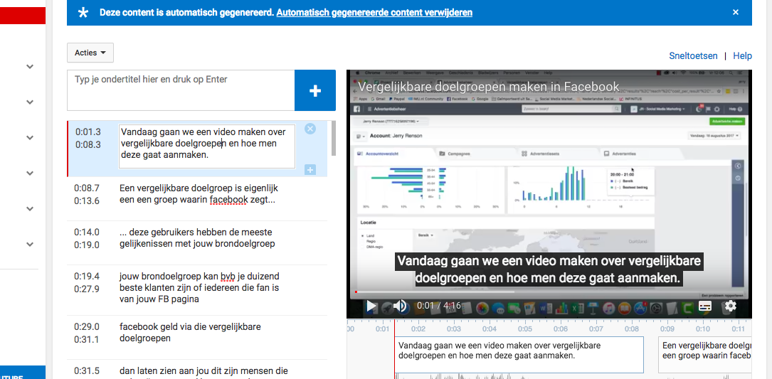 Ondertitels toevoegen aan je video met Youtube Studio Creator