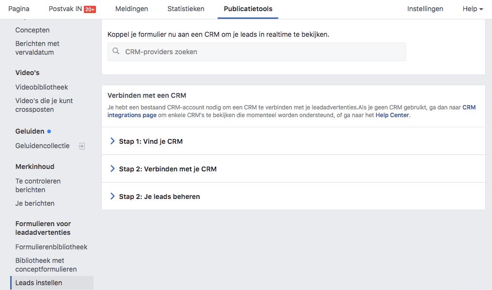 CRM instellen voor je Facebook lead advertentie campagne