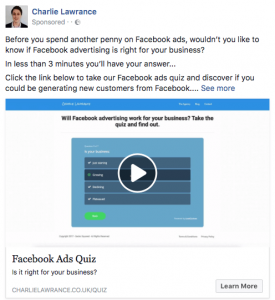 quiz verwerken in facebook video advertentie