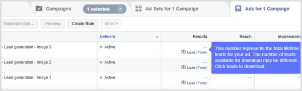 resultaten van je facebook lead advertentie in de advertentiemanager