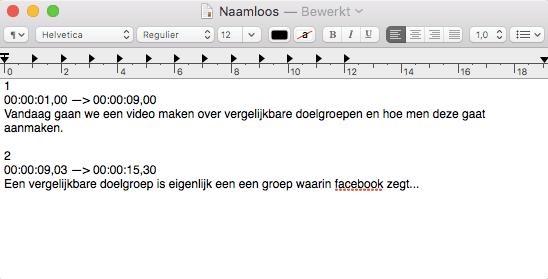 srt bestand in een tekstverwerker aanmaken