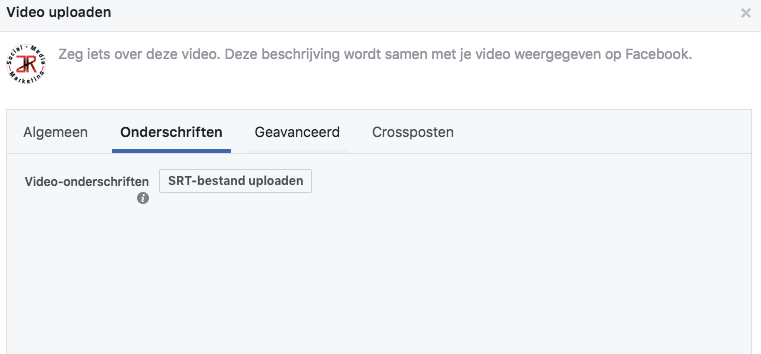 srt bestand uploaden in je Facebook video