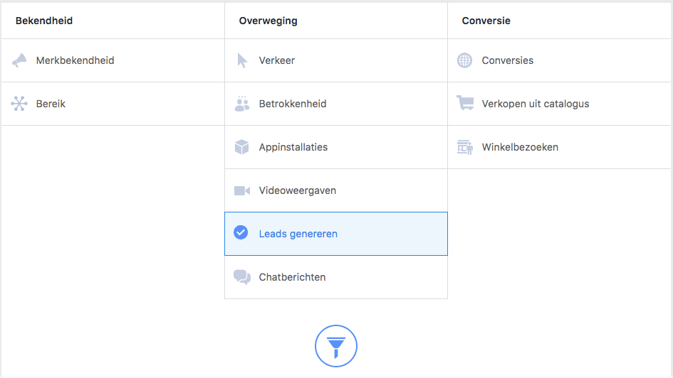 start een leads genereren facebook campagne