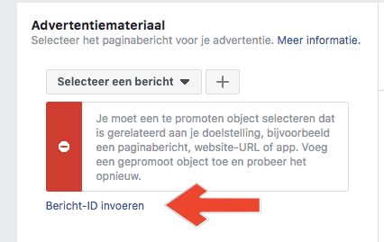 bericht id invoeren facebook advertentie