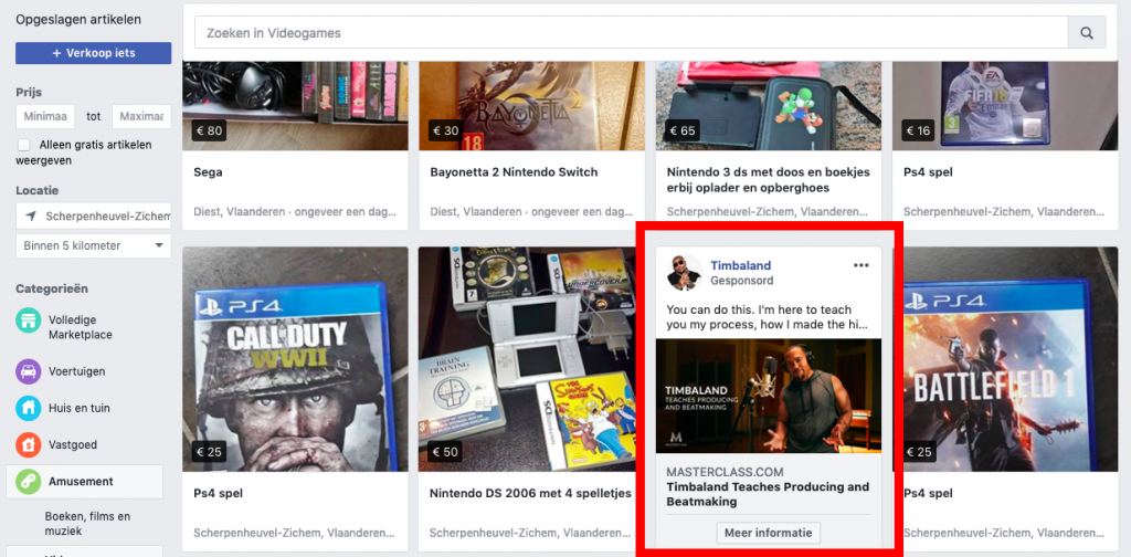 Advertenties in Facebook marktplaats
