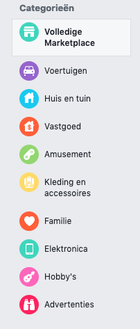 Verkoop per categorie in Facebook Marktplaats