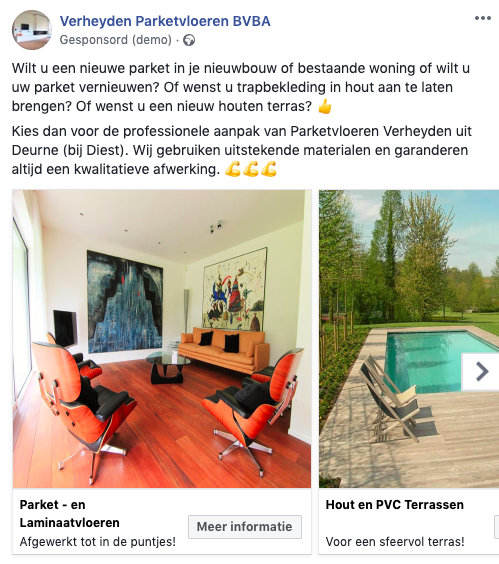 Facebook carrousel advertentie parketvloeren