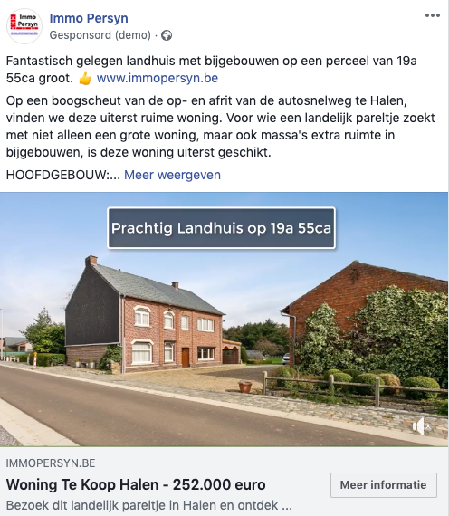 Facebook video advertentie immo marketing