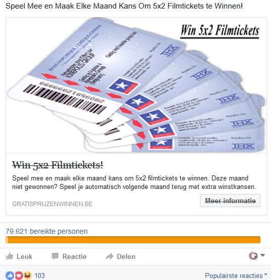 Win Gratis filmtickets - lead advertentie