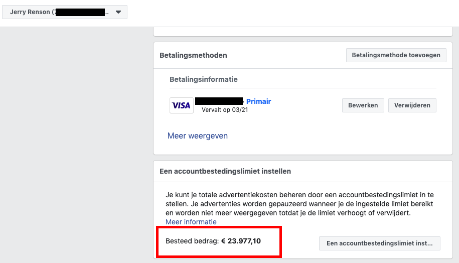 totale advertentie budget besteed aan Facebook